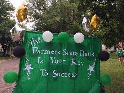FSB float at the Jackson County 4-H parade - Farmers State Bank is your key to success.